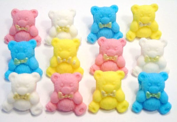 mixed coloured teddys baby shower cupcake toppers & cake decorations