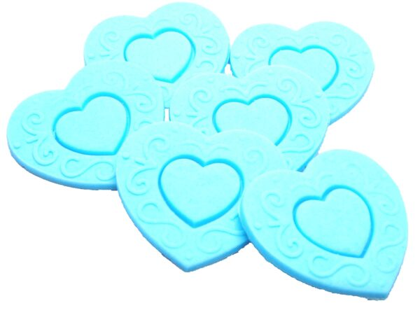 Large edible embossed hearts, cupcake toppers & cake decorations
