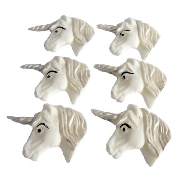 silver horse unicorn faces cupcake toppers and cake decorations