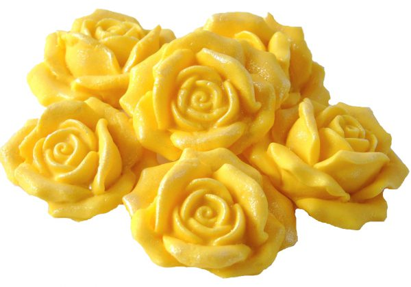 6 Yellow Large Rose Cake Toppers