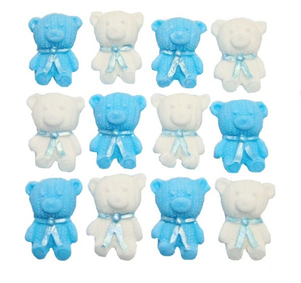 Blue White edible teddys cute cupcake topper decorations