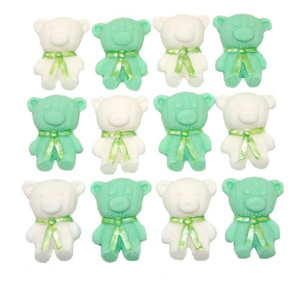 Green white edible teddys cute cupcake topper decorations