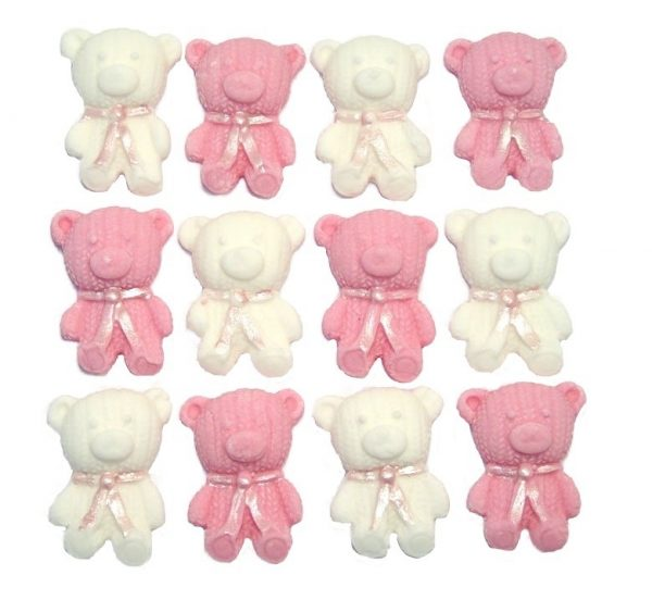 Pink White edible teddys cute cupcake topper decorations