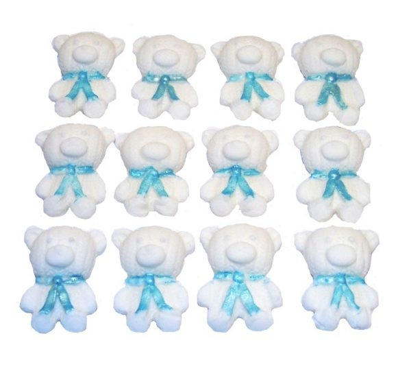 White Blue edible teddys cute cupcake topper decorations