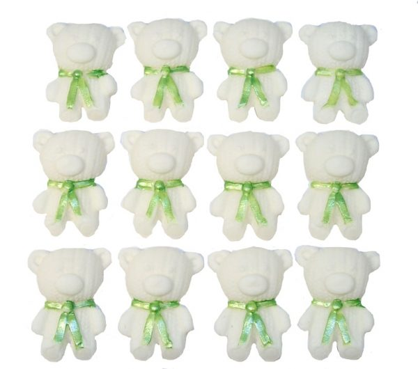 White green edible teddys cute cupcake topper decorations