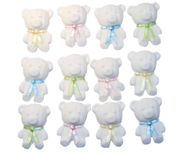 White mix 1 edible teddys cute cupcake topper decorations