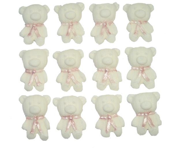 White Pink edible teddys cute cupcake topper decorations