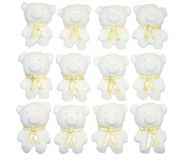 White yellow edible teddys cute cupcake topper decorations