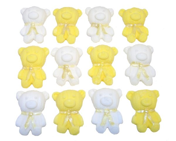 Yellow White edible teddys cute cupcake topper decorations