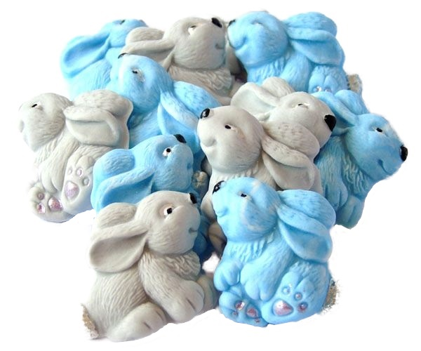 Blue Gray baby rabbits cupcake toppers