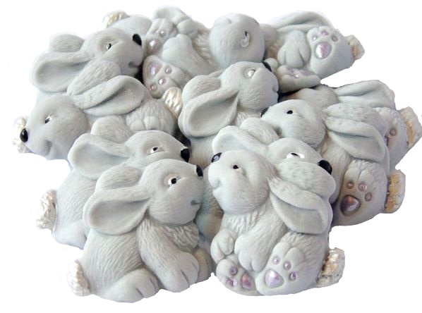 Grey baby rabbits cupcake toppers
