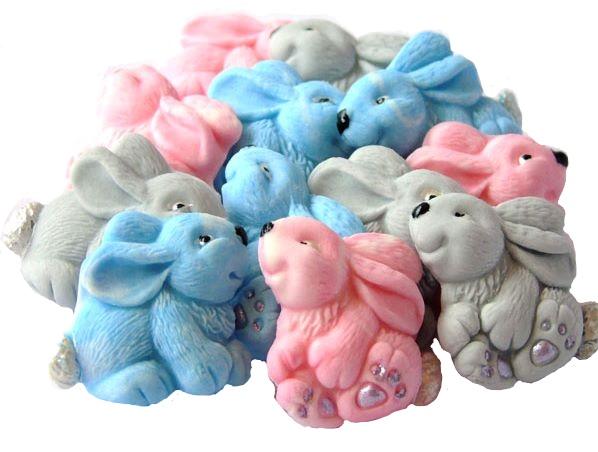 Mixed baby rabbits cupcake toppers