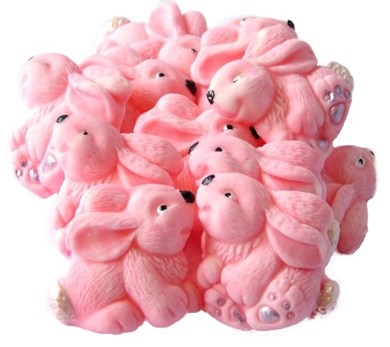 Pink baby rabbits cupcake toppers