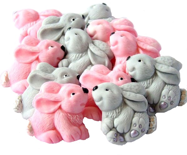 Pink Grey baby rabbits cupcake toppers
