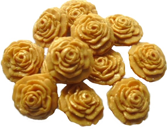 gold roses edible flower cupcake toppers