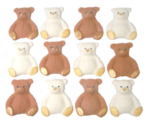 Brown White new edible teddys cupcake decorations