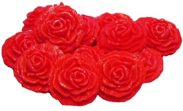 red roses edible flower cupcake toppers