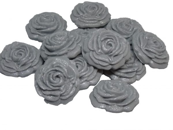 Silver small roses edible flower cupcake toppers