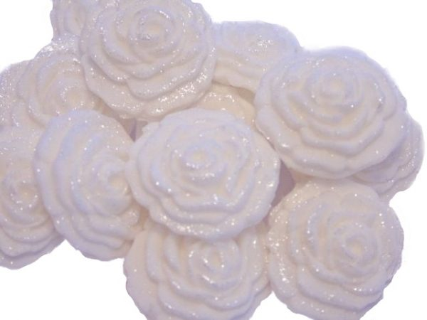 White small roses edible flower cupcake toppers