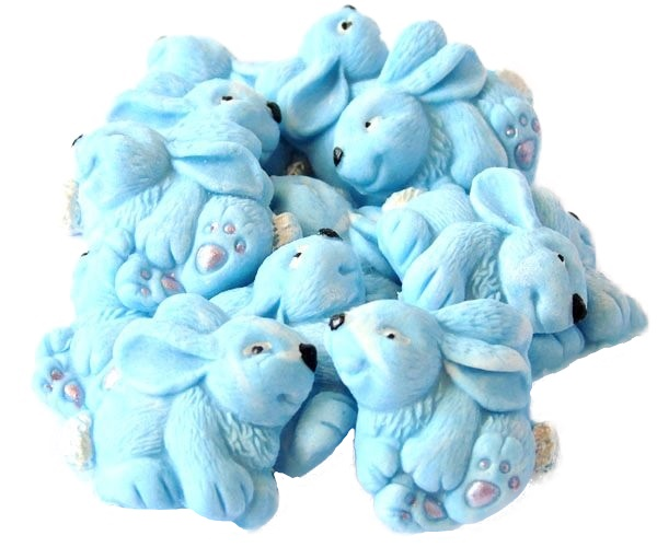 Blue baby rabbits cupcake toppers