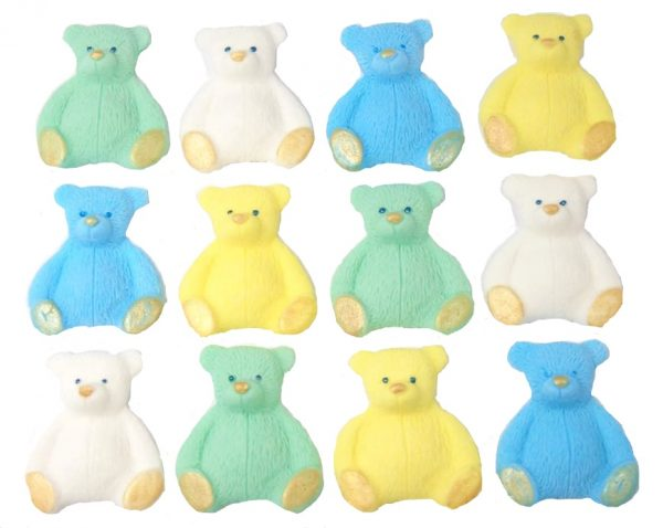 Blue mix new edible teddys cupcake decorations