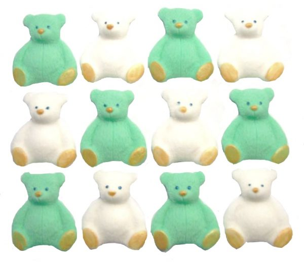 Green White new edible teddys cupcake decorations