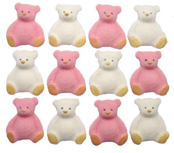 Pink White new edible teddys cupcake decorations