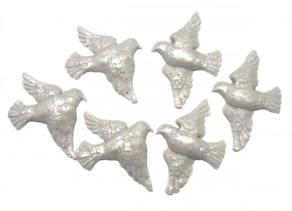 Silver Doves cake decorations