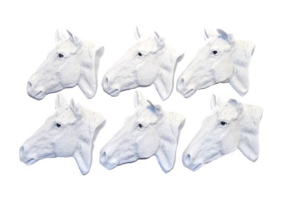 Grey horses heads cupcake cake topper decorations