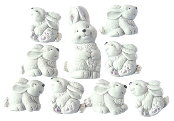 Mum & Grey Baby Rabbits cake decorations