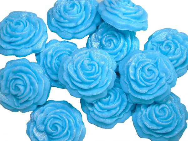 Blue roses edible flower cupcake toppers