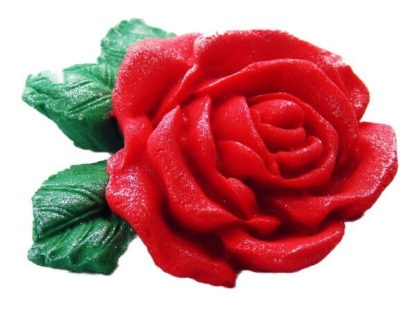 Large edible rose glittered cake topper decorations
