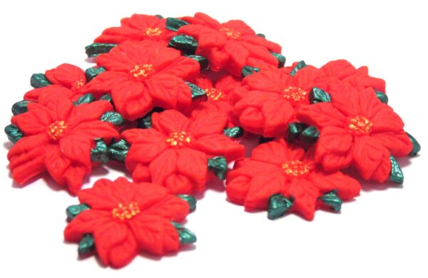 12 red Poinsettia cupcake decorations