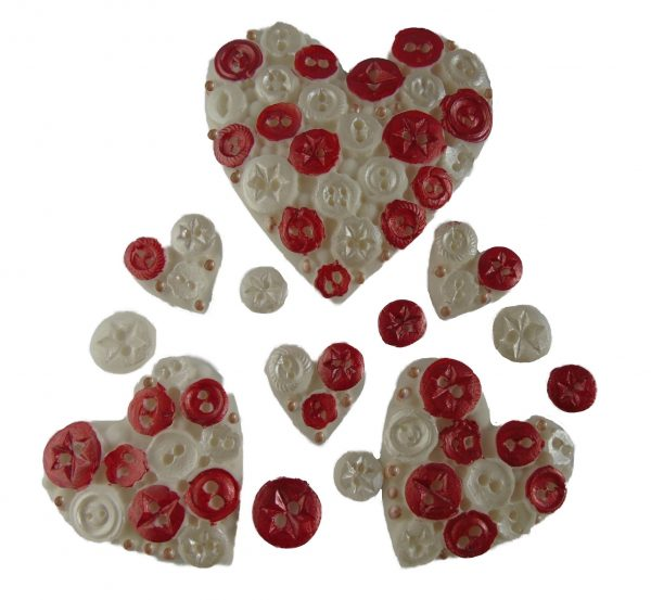 Red white heart button mix
