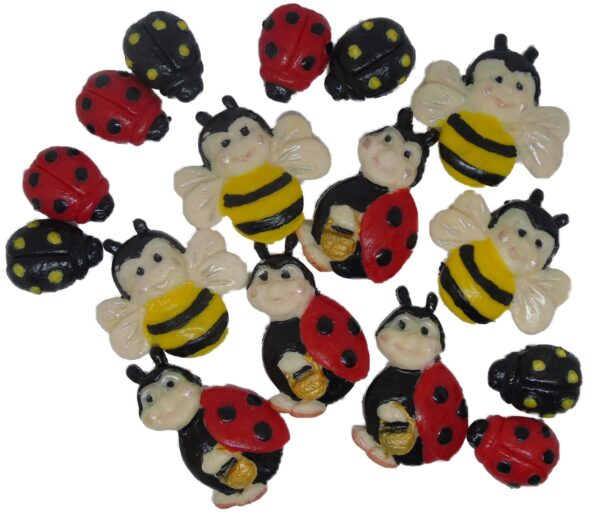 Ladbirds and bees cupcake toppers and cake decorations