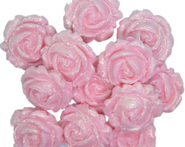 12 NEW GLITTERED ROSES PINK