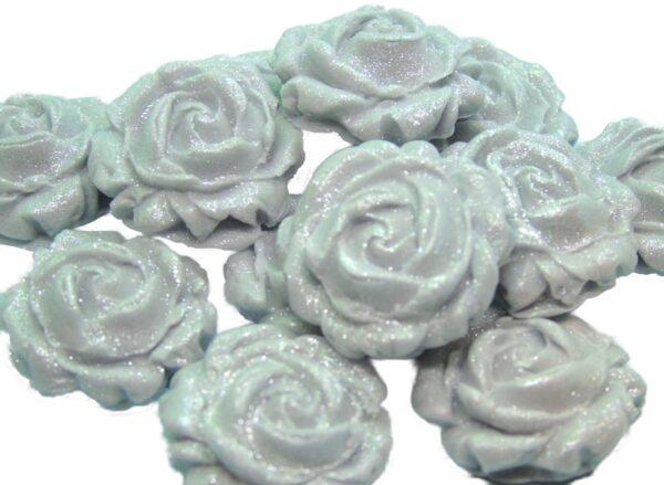12 NEW GLITTERED ROSES SILVER