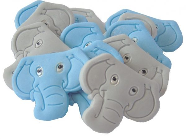 Blue grey elephants edible cupcake toppers & cake decorations
