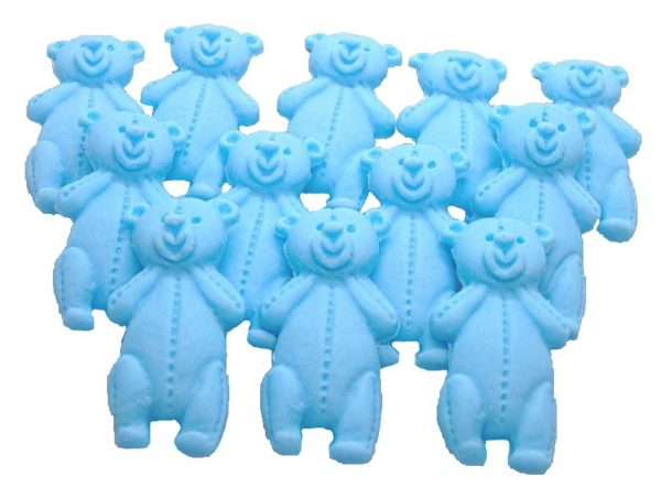 Blue LT teddys baby shower cupcake toppers