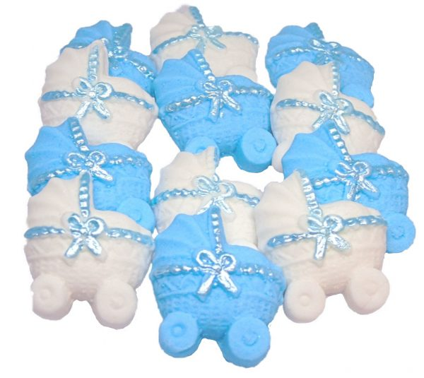Blue white baby shower cupcake toppers