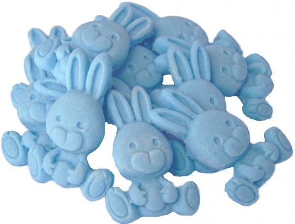 Blue rabbits cupcake cake edible topper decorations