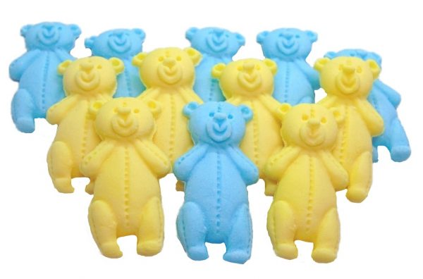 Blue Yellow LT teddys baby shower cupcake toppers