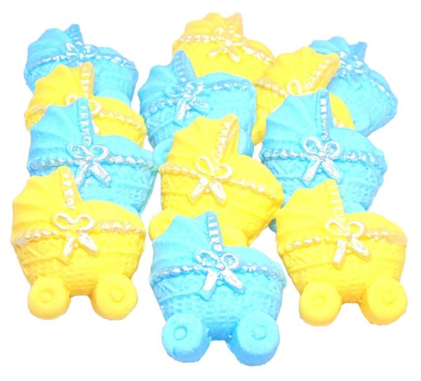 Blue yellow baby shower cupcake toppers