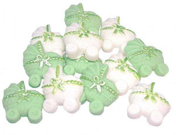 green white baby shower cupcake toppers