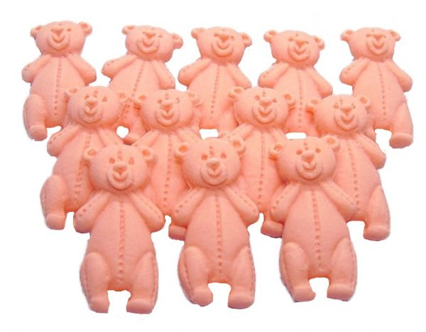 Peach LT teddys baby shower cupcake toppers