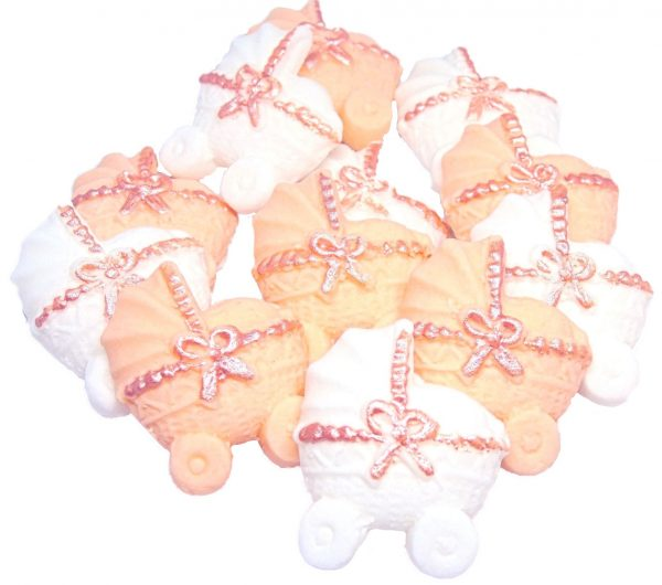 Peach white baby shower cupcake toppers
