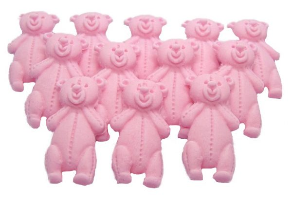 Pink LT teddys baby shower cupcake toppers