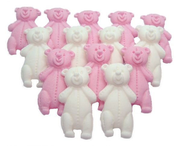 Pink White LT teddys baby shower cupcake toppers