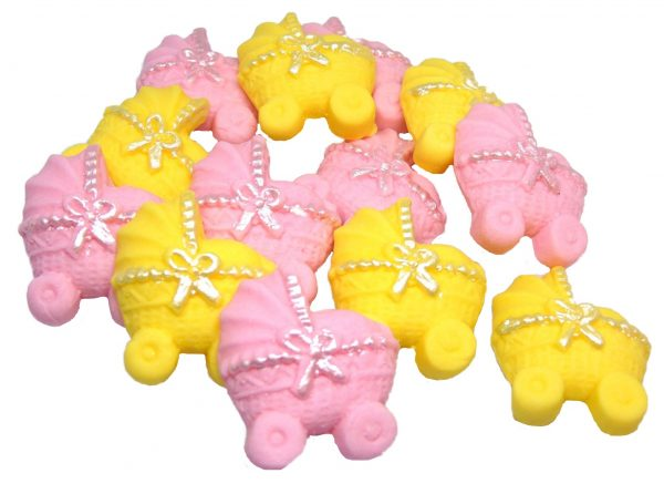 Pink Yellow baby shower cupcake toppers