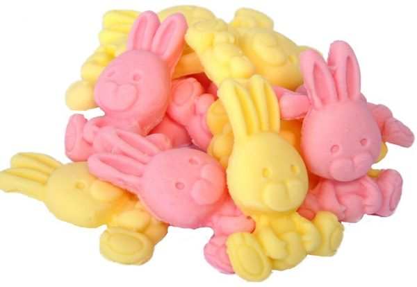 Pink yellow rabbits cupcake cake edible topper decorations
